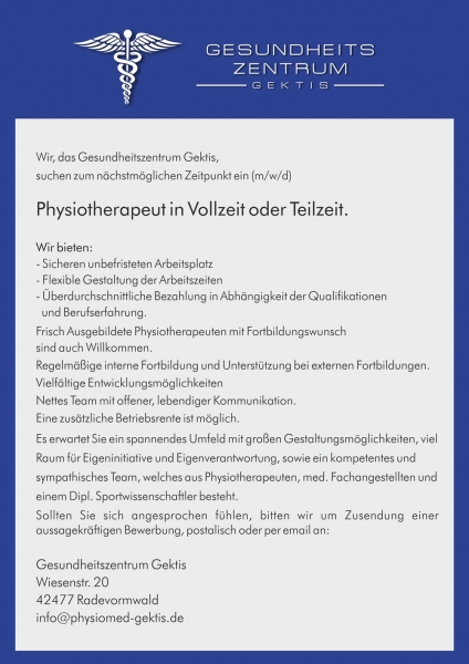 Physiotherapeut/in in Vollzeit